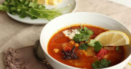 Tunisian spiced tomato chickpea soup