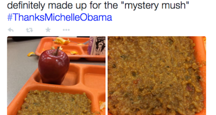 #ThanksMichelleObama for 'mystery mush' and 'plastic food.' First lady fair target? (+video)