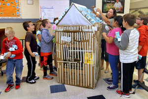 Donna Scott, A Teacheru0027s Assistant At Sargho Elementary School, Helps 3rd,  4th And 5th Grade Students Decorate A Giant Milk Carton With Smaller, ...