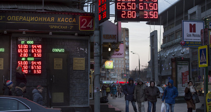 Ruble crash, sanctions sting Russians