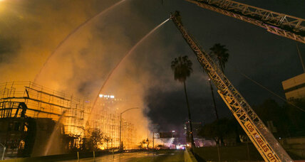 'Historic' Los Angeles fire engulfs city block