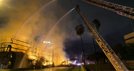 Los Angeles residential complex, under construction, destroyed by fire