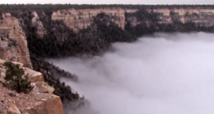 Grand Canyon brims with rare, swirling 'cloud inversion'