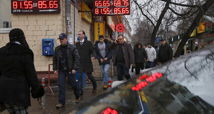 As ruble slide continues, Wall St. looking down