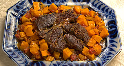 Chipotle pot roast with onions and sweet potatoes