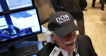 Dow closes above 18,000 for first time