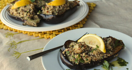 Eggplant stuffed with chai spiced quinoa