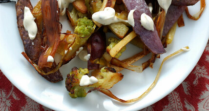 Roasted vegetables with cilantro-lemon aioli