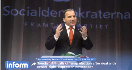 Sweden's prime minister calls off early elections