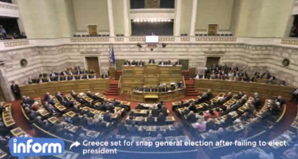 Greek lawmakers fail to elect president, forcing snap elections