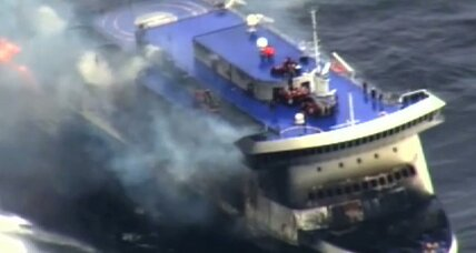 At least 10 dead in ferry blaze, as survivors fight to get off ship