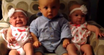 Seeing double: Toddler confused by twins caught on video