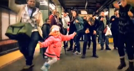 Little girl kicks off dance party on subway platform
