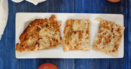 Caramelized onion and apple slab tart