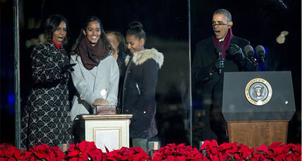 Sasha, Malia, and Christmas tree all lit up this evening (+video)