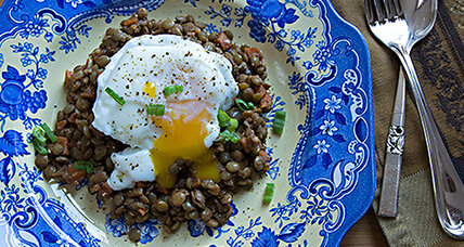 Curried lentils with poached eggs