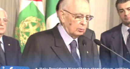 Italy's President Napolitano resigns as promised, challenge on for next