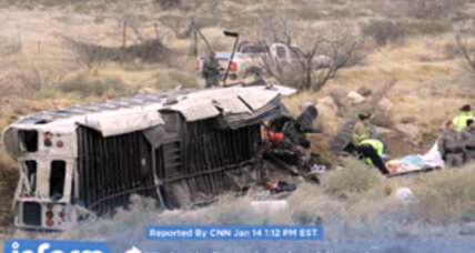 At least 10 killed when prison bus skids off Texas highway, hits train
