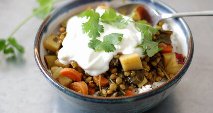 Curried lentil and sweet potato stew