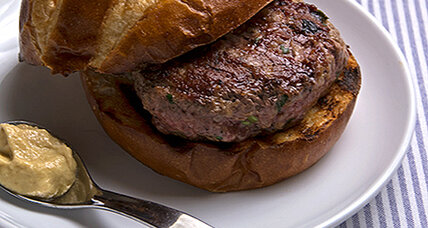 Lemony lamb burgers with Dijon mustard