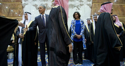 Michelle Obama forgoes head scarf in Saudi Arabia. Faux pas?