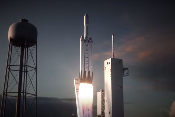 spacex s falcon heavy rocket lifts off in this animation