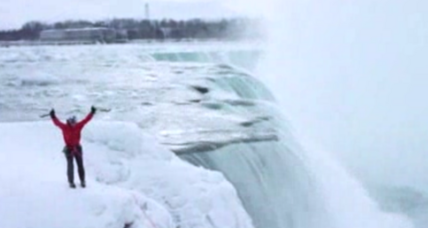 Instead of down in a barrel, duo become first to climb up Niagara Falls