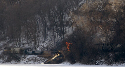 Train derails in Iowa, catches fire