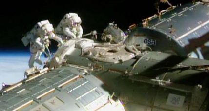 Astronauts spruce up space station for commercial spacecraft