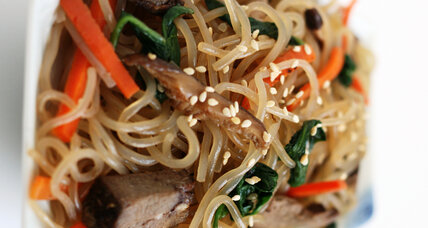 Korean stir-fried glass noodles, 'japchae'