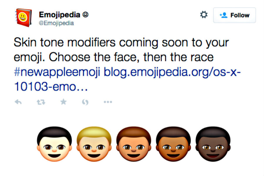 Apple emoji embraces racial diversity - CSMonitor com