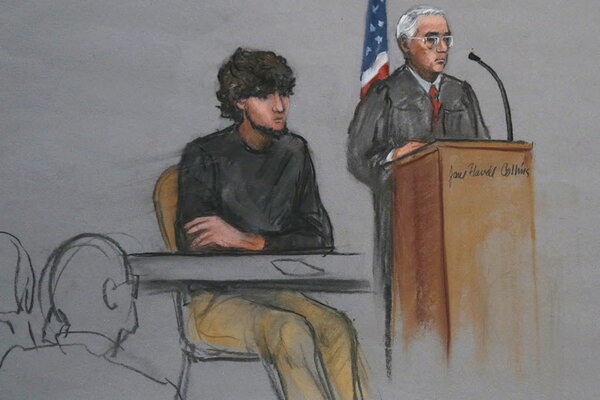 In this courtroom sketch, Dzhokhar Tsarnaev is depicted during his federal  death penalty trial