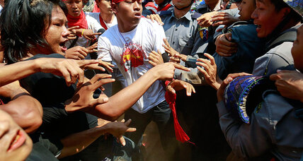 In Myanmar, batons fly as student protesters meet harsh response