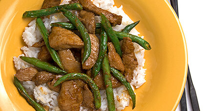 Pork and green bean stir fry