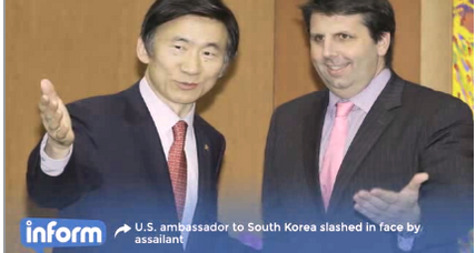 US Ambassador to South Korea slashed in attack