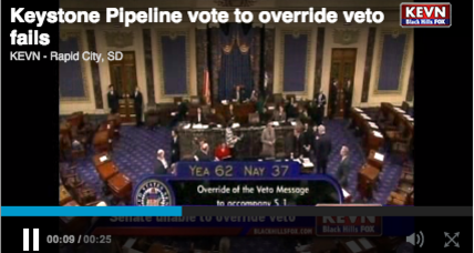 Senate fails to override Obama's Keystone veto (+video)