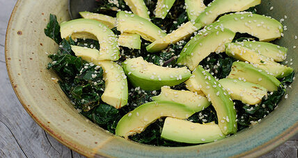 Warm kale salad with tahini-ginger dressing and avocado