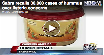Sabra hummus recall includes 30,000 cases that may contain listeria