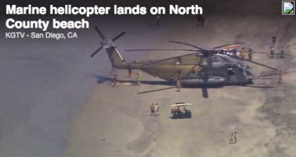 Humongous Marine Corps helicopter makes emergency landing on Calif. beach