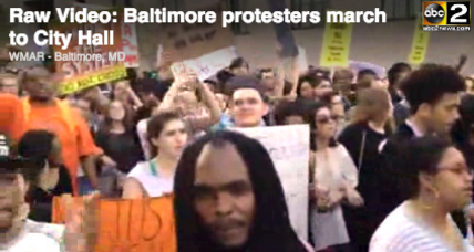 Protesters converge on city hall in Baltimore