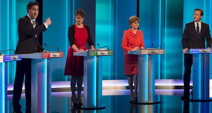 Britain's 7-way electoral debate: Cameron and rivals talk recession, immigration