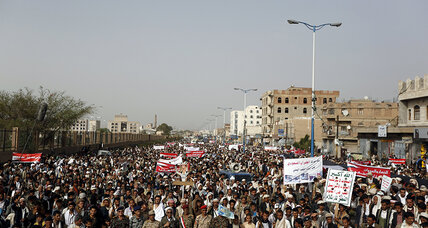 Rebel supporters protest Saudi-led airstrikes in Yemen after truce ended