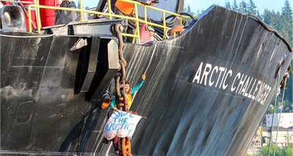 Arctic drilling update: Protester leaves Shell ship after hanging on since Friday