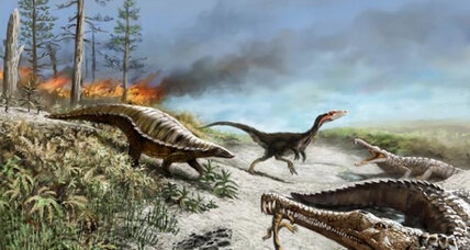 What made large dinosaurs flee the tropics?