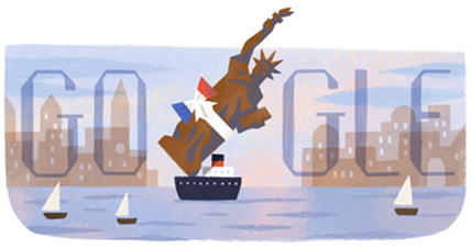 Google marks anniversary of Statue of Liberty's arrival in New York Harbor