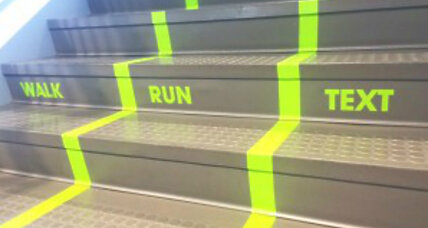 Texting while walking: Utah college creates special stairway lane