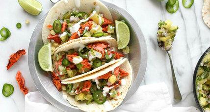 Chili-lime salmon tacos with pineapple-basil salsa