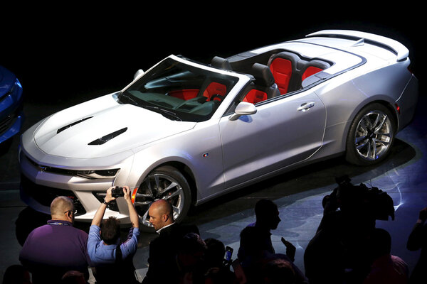 General motors unveils 2016 chevrolet camaro convertible General motors convertibles