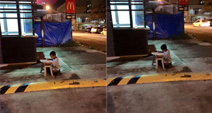 A photo of a young boy determined to learn goes viral