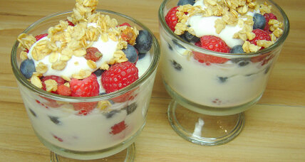 Red, white, and blueberry yogurt parfaits